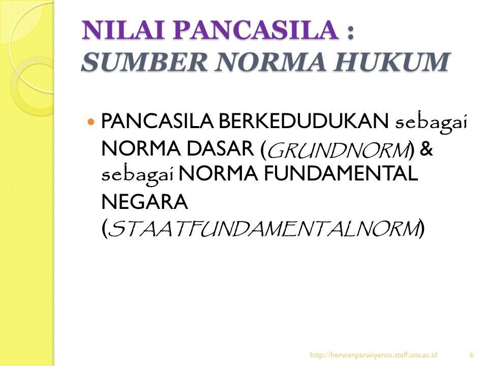 NILAI PANCASILA : SUMBER NORMA HUKUM PANCASILA BERKEDUDUKAN sebagai NORMA DASAR ( GRUNDNORM ) & sebagai NORMA FUNDAMENTAL NEGARA ( STAATFUNDAMENTALNOR