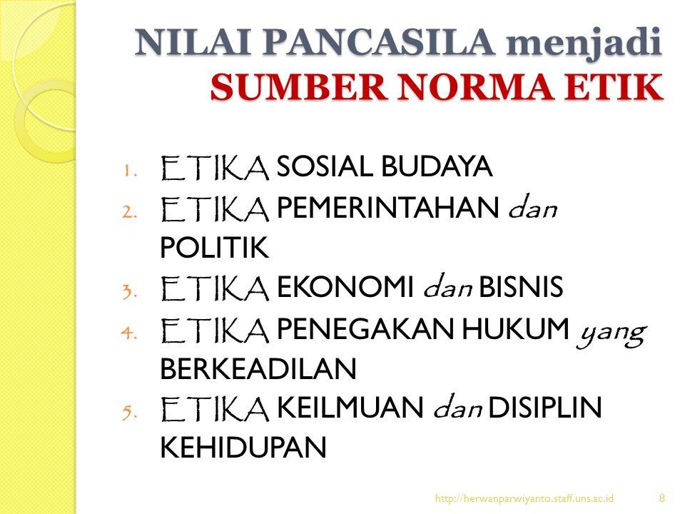 NILAI PANCASILA menjadi SUMBER NORMA ETIK 1. ETIKA SOSIAL BUDAYA 2. ETIKA PEMERINTAHAN dan POLITIK 3. ETIKA EKONOMI dan BISNIS 4. ETIKA PENEGAKAN HUKU