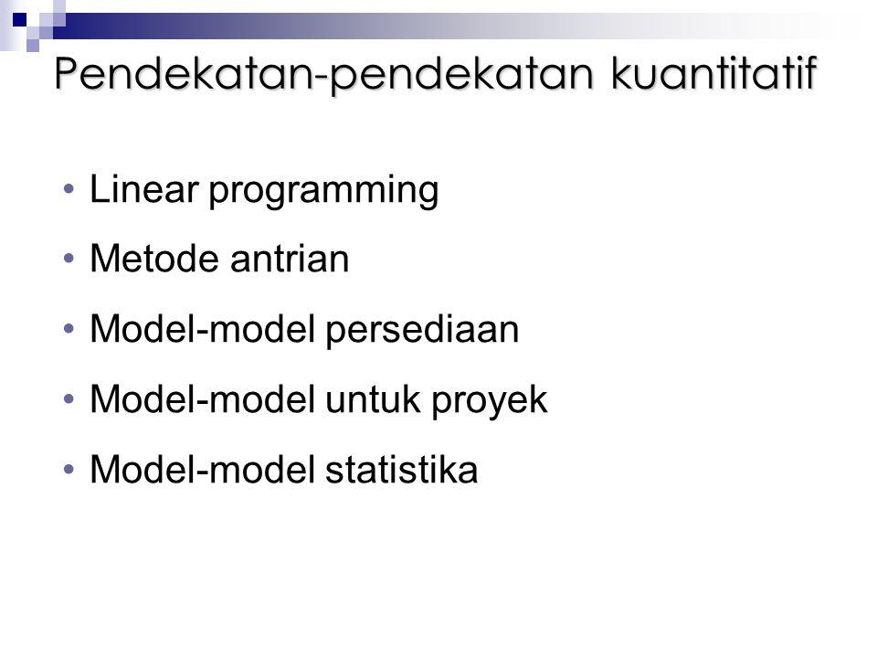Pendekatan-pendekatan kuantitatif Linear programming Metode antrian Model-model persediaan Model-model untuk proyek Model-model statistika