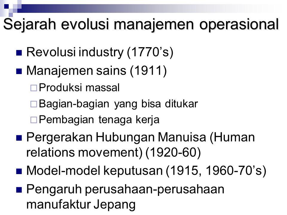 Sejarah evolusi manajemen operasional Revolusi industry (1770's) Manajemen sains (1911)  Produksi massal  Bagian-bagian yang bisa ditukar  Pembagia