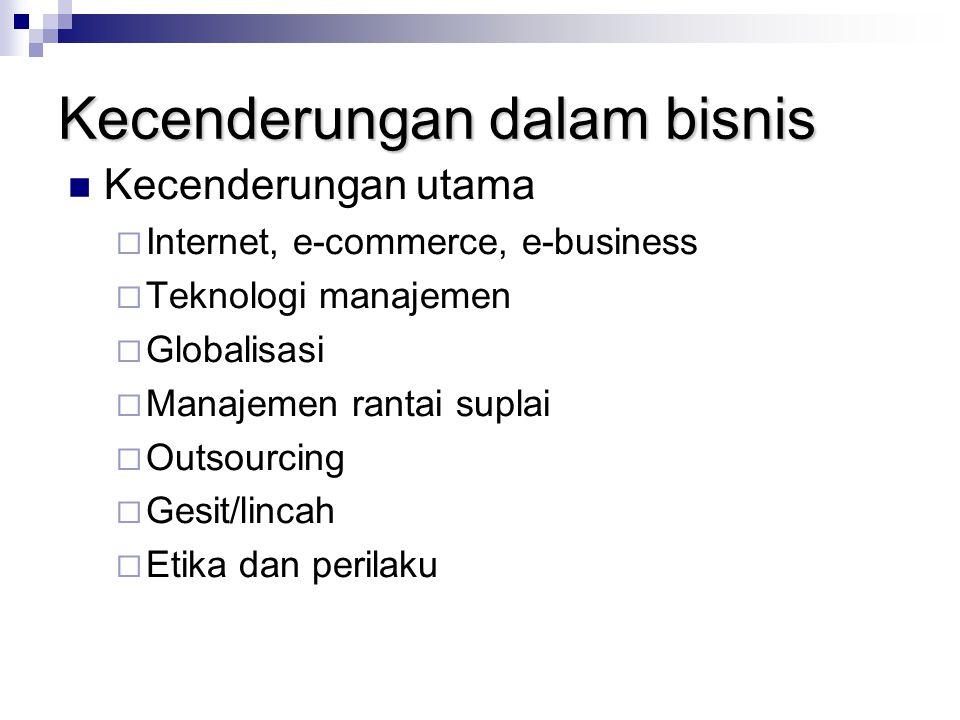 Kecenderungan dalam bisnis Kecenderungan utama  Internet, e-commerce, e-business  Teknologi manajemen  Globalisasi  Manajemen rantai suplai  Outs