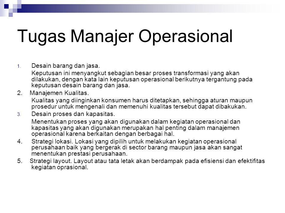 Tugas Manajer Operasional 1. Desain barang dan jasa. Keputusan ini menyangkut sebagian besar proses transformasi yang akan dilakukan, dengan kata lain