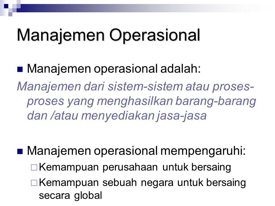 Manajemen Operasional Manajemen operasional adalah: Manajemen dari sistem-sistem atau proses- proses yang menghasilkan barang-barang dan /atau menyedi