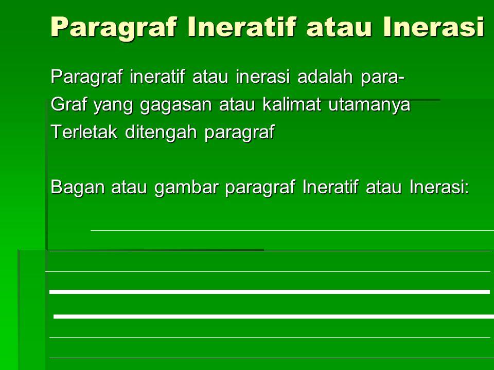 Paragraf Ineratif atau Inerasi Paragraf ineratif atau inerasi adalah para- Graf yang gagasan atau kalimat utamanya Terletak ditengah paragraf Bagan atau gambar paragraf Ineratif atau Inerasi: