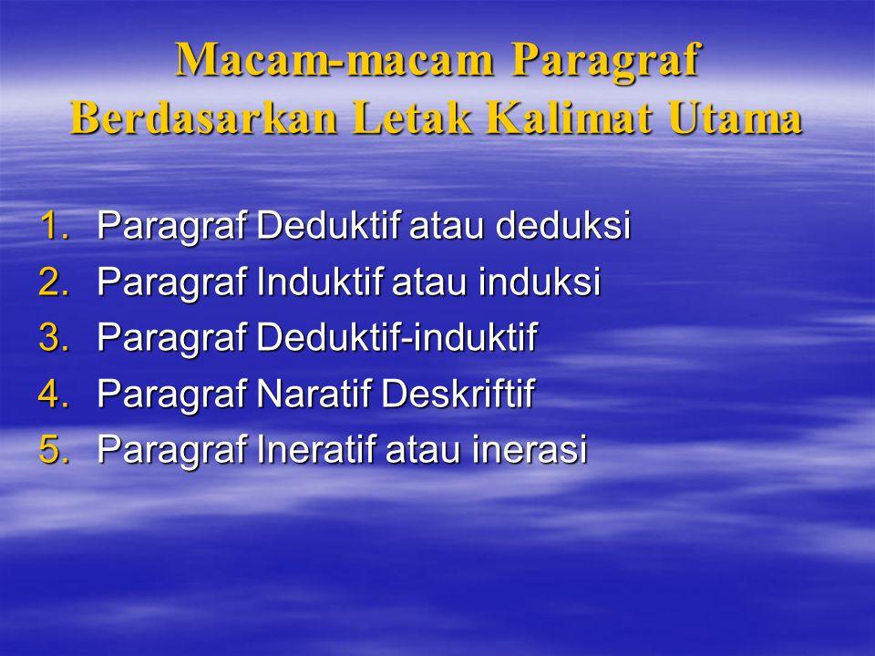 Macam-macam Paragraf Berdasarkan Letak Kalimat Utama 1.P aragraf Deduktif atau deduksi 2.P aragraf Induktif atau induksi 3.P aragraf Deduktif-induktif 4.P aragraf Naratif Deskriftif 5.P aragraf Ineratif atau inerasi