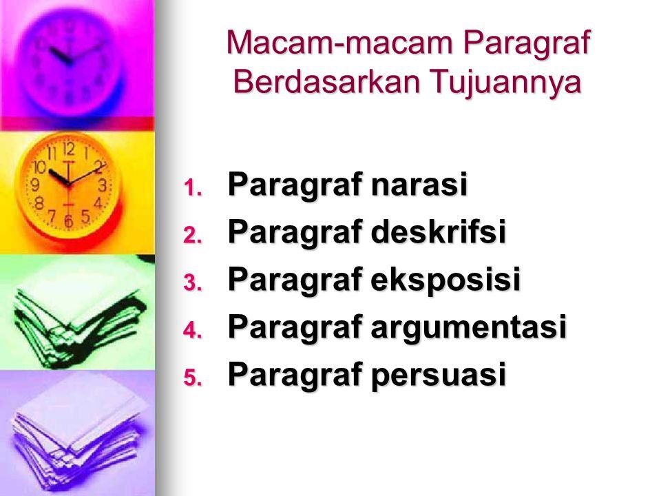 Macam-macam Paragraf Berdasarkan Tujuannya 1.P aragraf narasi 2.