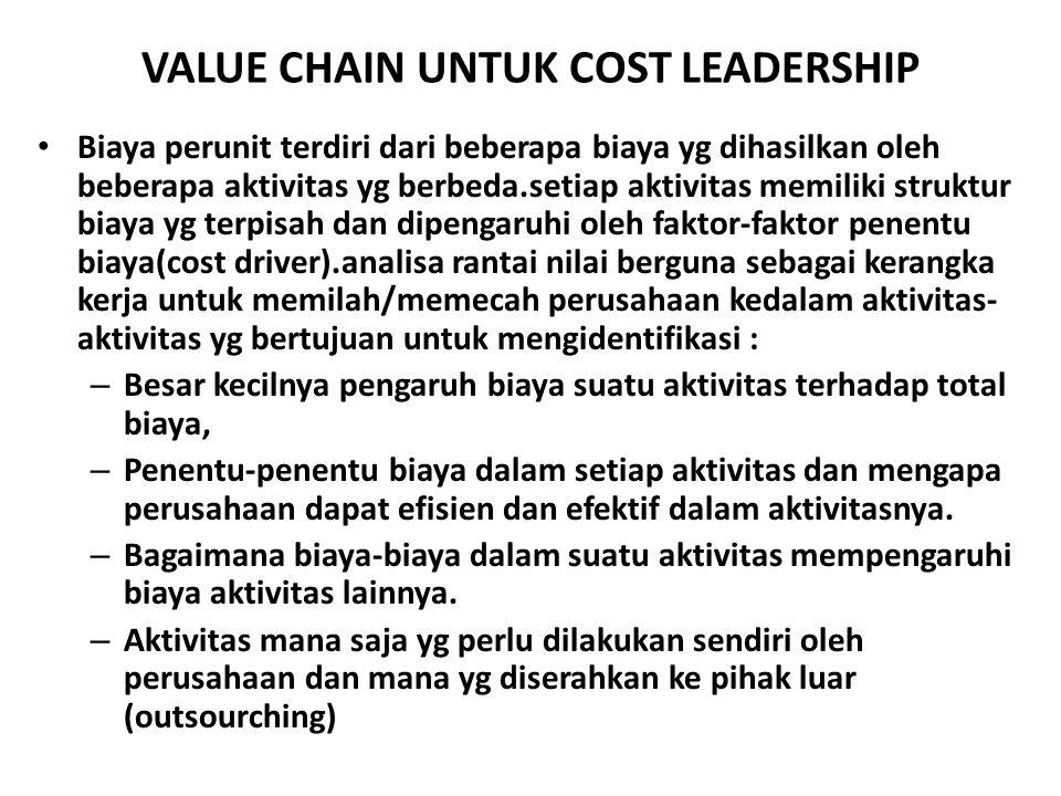 VALUE CHAIN UNTUK COST LEADERSHIP Biaya perunit terdiri dari beberapa biaya yg dihasilkan oleh beberapa aktivitas yg berbeda.setiap aktivitas memiliki