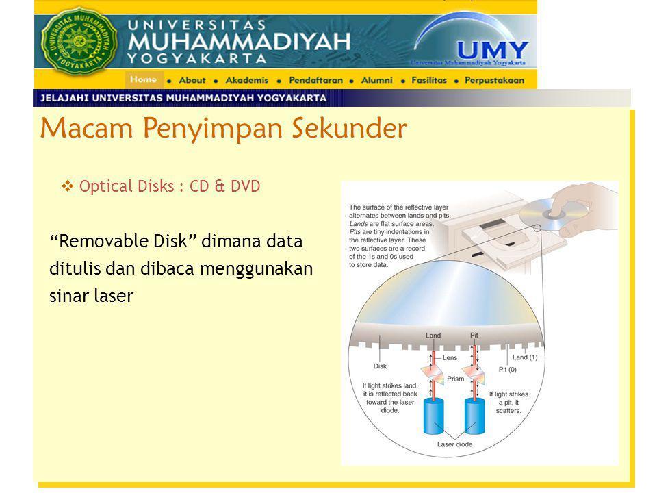"""Macam Penyimpan Sekunder  Optical Disks : CD & DVD """"Removable Disk"""" dimana data ditulis dan dibaca menggunakan sinar laser"""