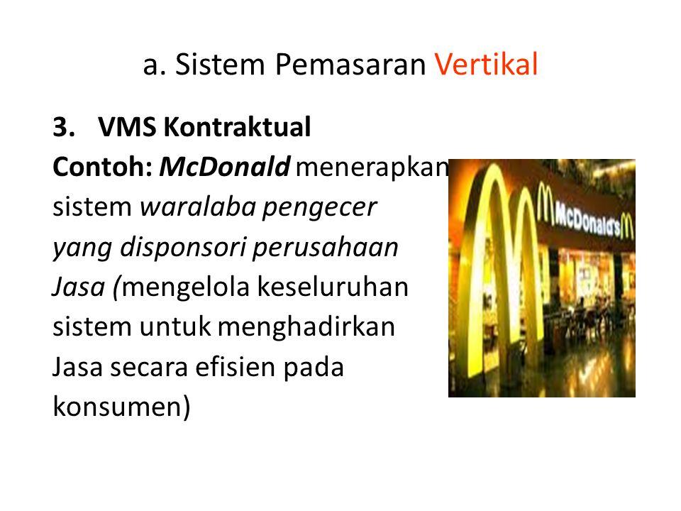 a. Sistem Pemasaran Vertikal 3.VMS Kontraktual Contoh: McDonald menerapkan sistem waralaba pengecer yang disponsori perusahaan Jasa (mengelola keselur