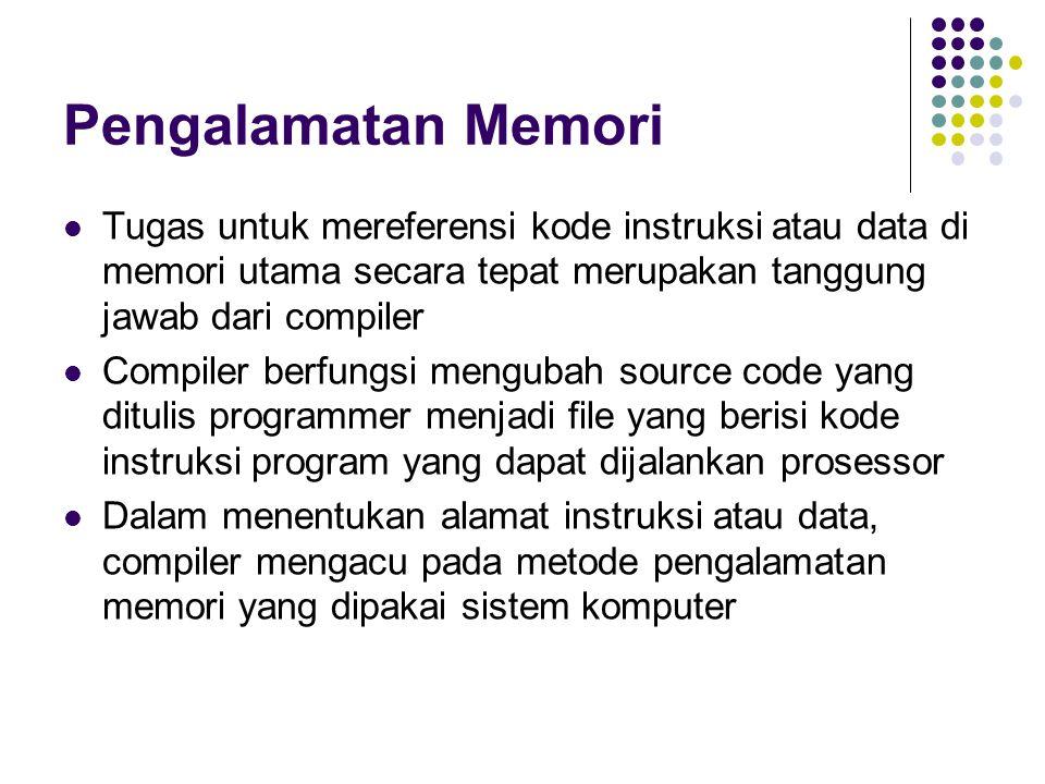 Pengalamatan Memori Tugas untuk mereferensi kode instruksi atau data di memori utama secara tepat merupakan tanggung jawab dari compiler Compiler berfungsi mengubah source code yang ditulis programmer menjadi file yang berisi kode instruksi program yang dapat dijalankan prosessor Dalam menentukan alamat instruksi atau data, compiler mengacu pada metode pengalamatan memori yang dipakai sistem komputer