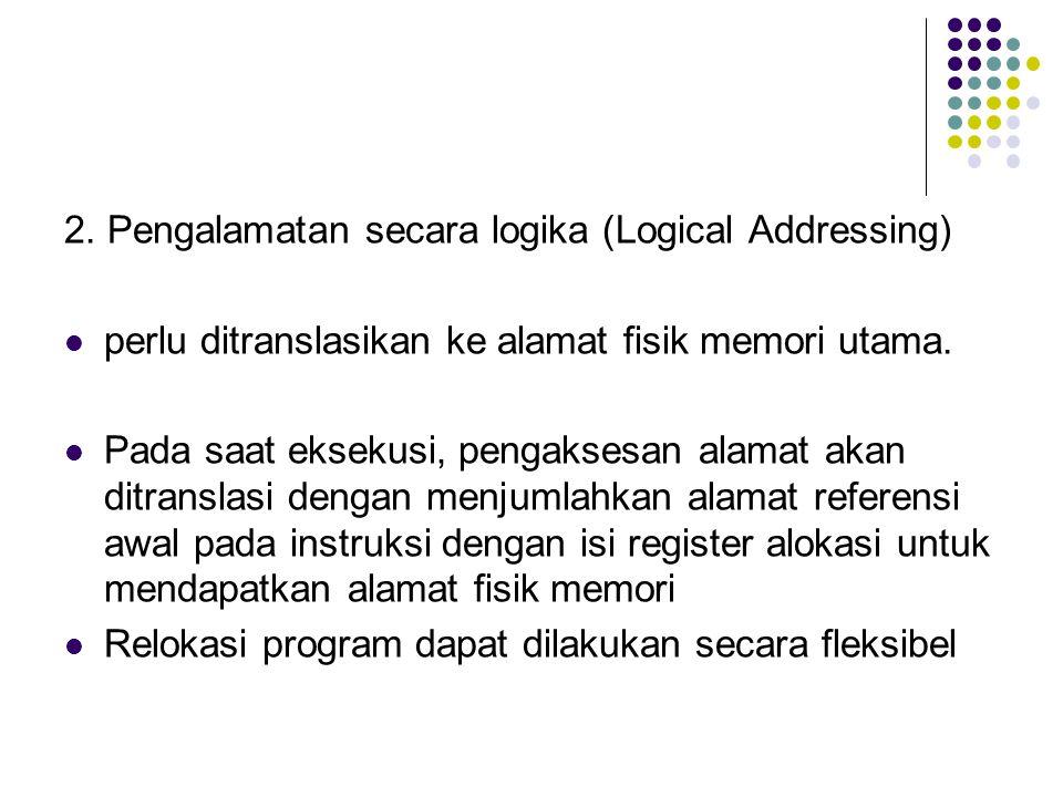 2. Pengalamatan secara logika (Logical Addressing) perlu ditranslasikan ke alamat fisik memori utama. Pada saat eksekusi, pengaksesan alamat akan ditr