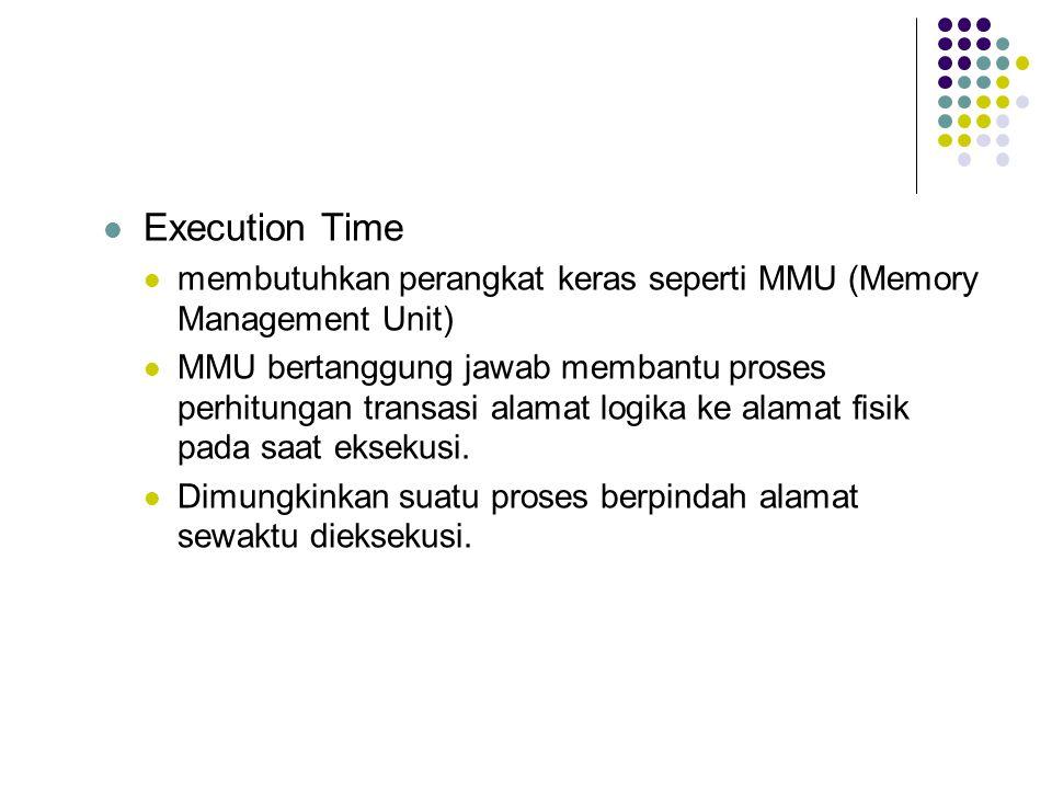 Execution Time membutuhkan perangkat keras seperti MMU (Memory Management Unit) MMU bertanggung jawab membantu proses perhitungan transasi alamat logika ke alamat fisik pada saat eksekusi.