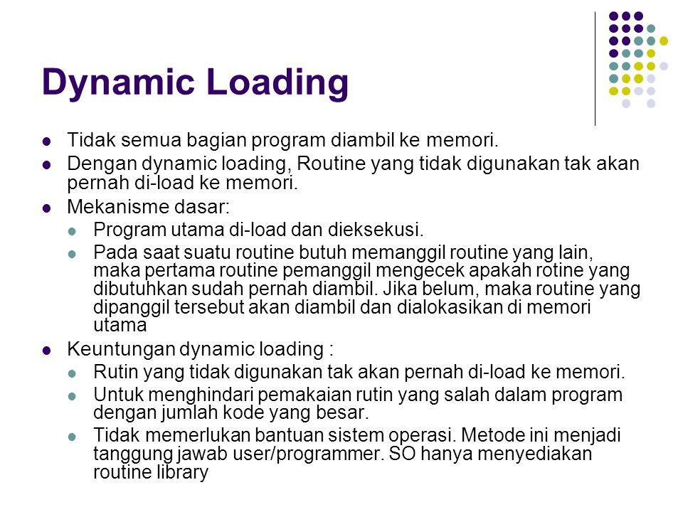 Dynamic Loading Tidak semua bagian program diambil ke memori.