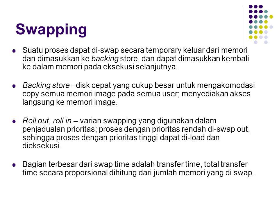 Swapping Suatu proses dapat di-swap secara temporary keluar dari memori dan dimasukkan ke backing store, dan dapat dimasukkan kembali ke dalam memori pada eksekusi selanjutnya.