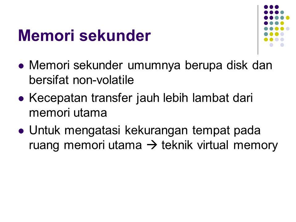 Memori sekunder Memori sekunder umumnya berupa disk dan bersifat non-volatile Kecepatan transfer jauh lebih lambat dari memori utama Untuk mengatasi kekurangan tempat pada ruang memori utama  teknik virtual memory
