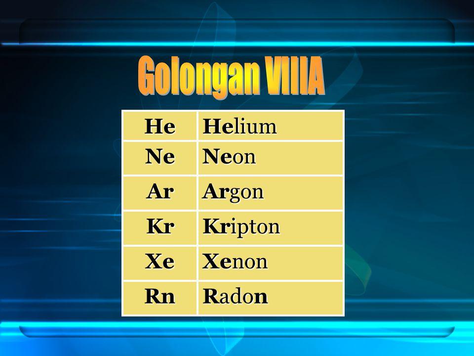 He Helium Ne Neon Ar Argon Kr Kripton Xe Xenon Rn Radon