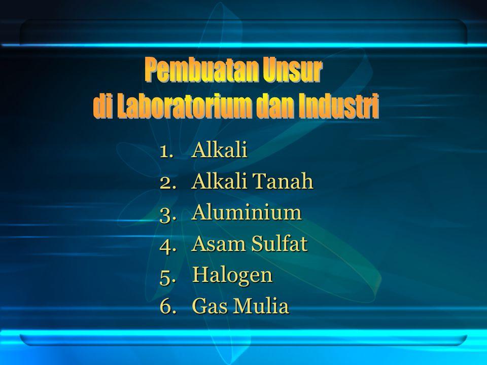 1.Alkali 2.Alkali Tanah 3.Aluminium 4.Asam Sulfat 5.Halogen 6.Gas Mulia