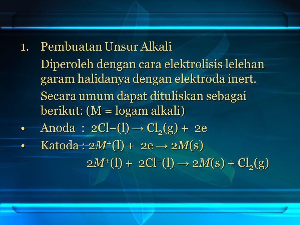 1.Pembuatan Unsur Alkali Diperoleh dengan cara elektrolisis lelehan garam halidanya dengan elektroda inert. Secara umum dapat dituliskan sebagai berik