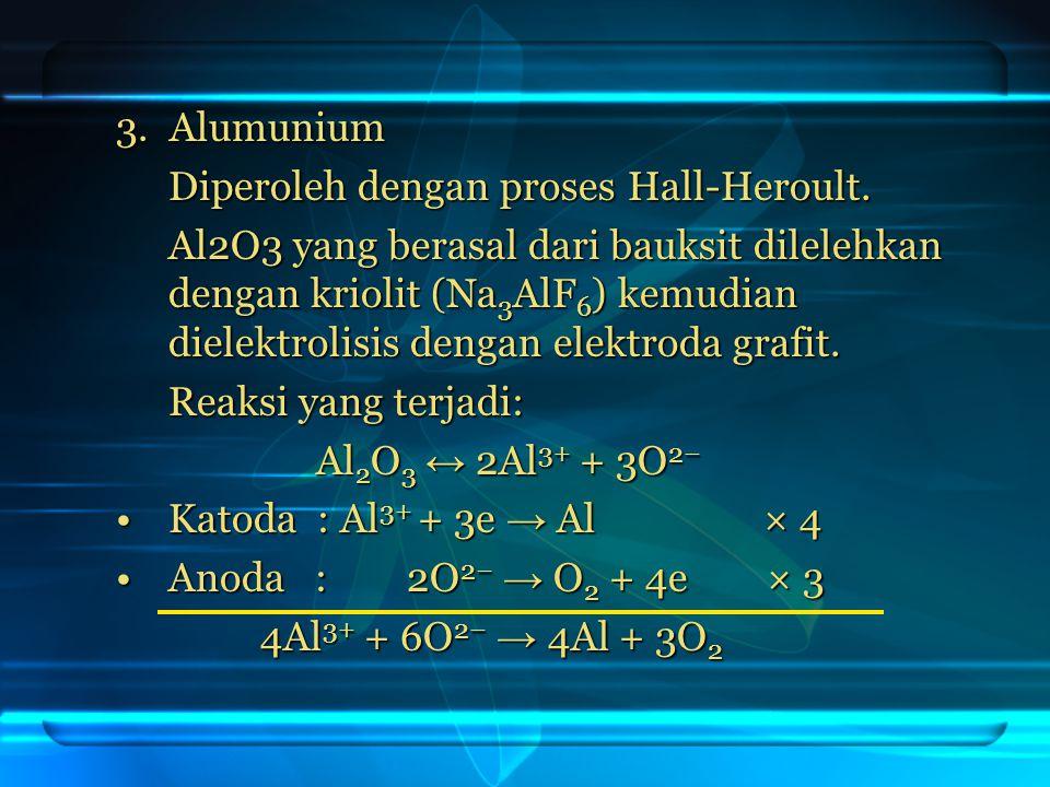 3. Alumunium Diperoleh dengan proses Hall-Heroult. Al2O3 yang berasal dari bauksit dilelehkan dengan kriolit (Na 3 AlF 6 ) kemudian dielektrolisis den