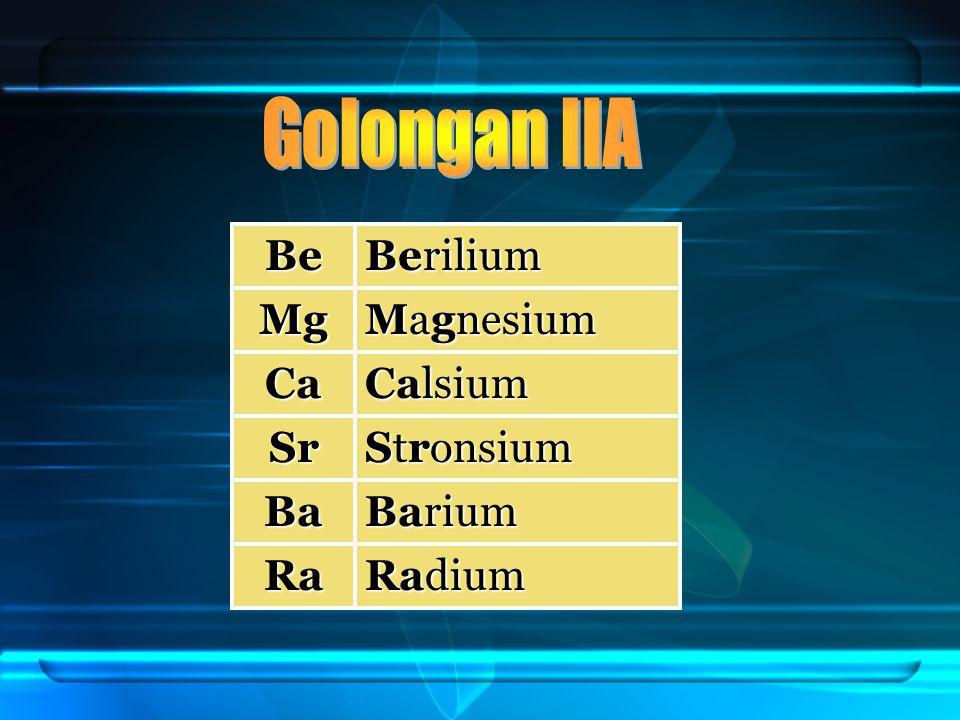Be Berilium Mg Magnesium Ca Calsium Sr Stronsium Ba Barium Ra Radium