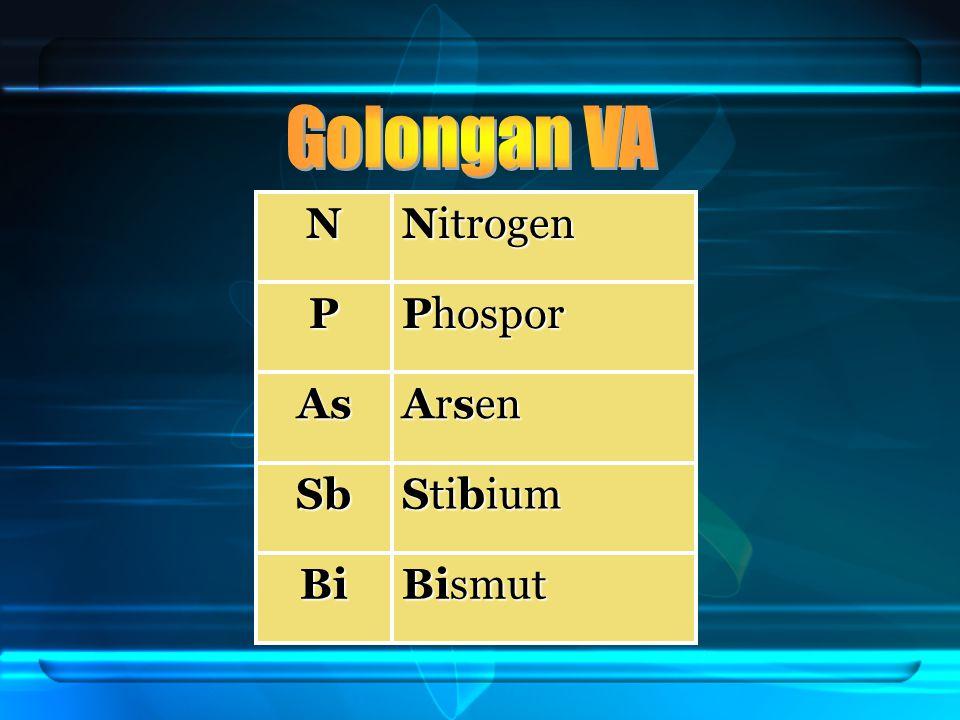 N Nitrogen P Phospor As Arsen Sb Stibium Bi Bismut