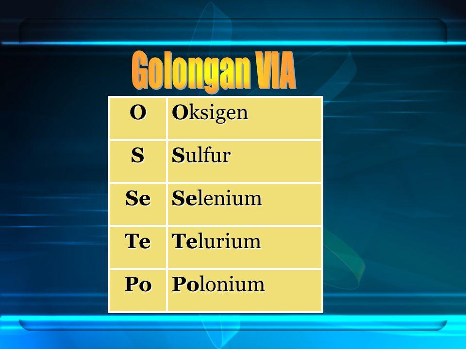 O Oksigen S Sulfur Se Selenium Te Telurium Po Polonium