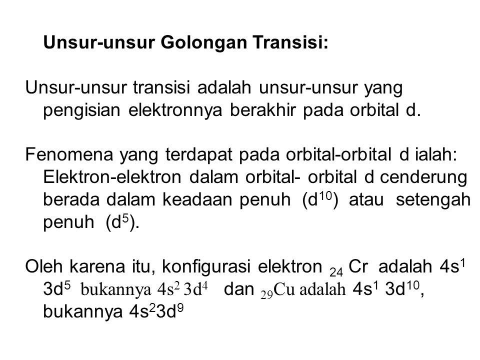 Unsur-unsur Golongan Transisi: Unsur-unsur transisi adalah unsur-unsur yang pengisian elektronnya berakhir pada orbital d. Fenomena yang terdapat pada