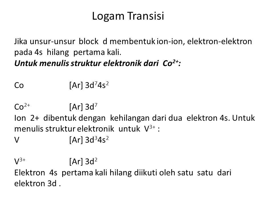 Logam Transisi Jika unsur-unsur block d membentuk ion-ion, elektron-elektron pada 4s hilang pertama kali. Untuk menulis struktur elektronik dari Co 2+