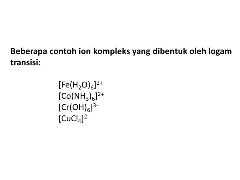 Beberapa contoh ion kompleks yang dibentuk oleh logam transisi: [Fe(H 2 O) 6 ] 2+ [Co(NH 3 ) 6 ] 2+ [Cr(OH) 6 ] 3- [CuCl 4 ] 2-