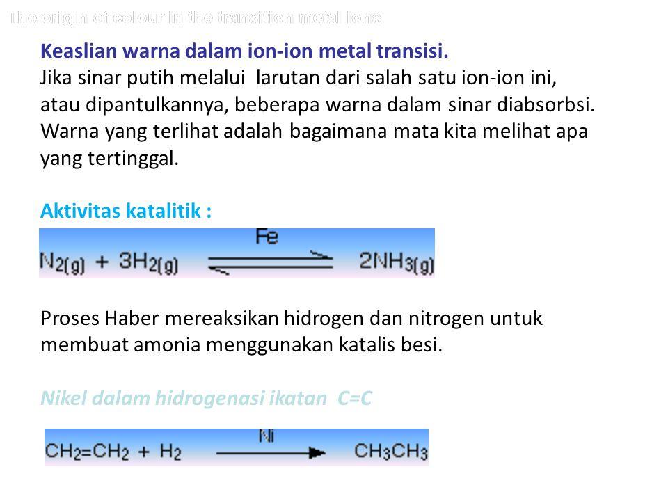 The origin of colour in the transition metal ions Keaslian warna dalam ion-ion metal transisi. Jika sinar putih melalui larutan dari salah satu ion-io