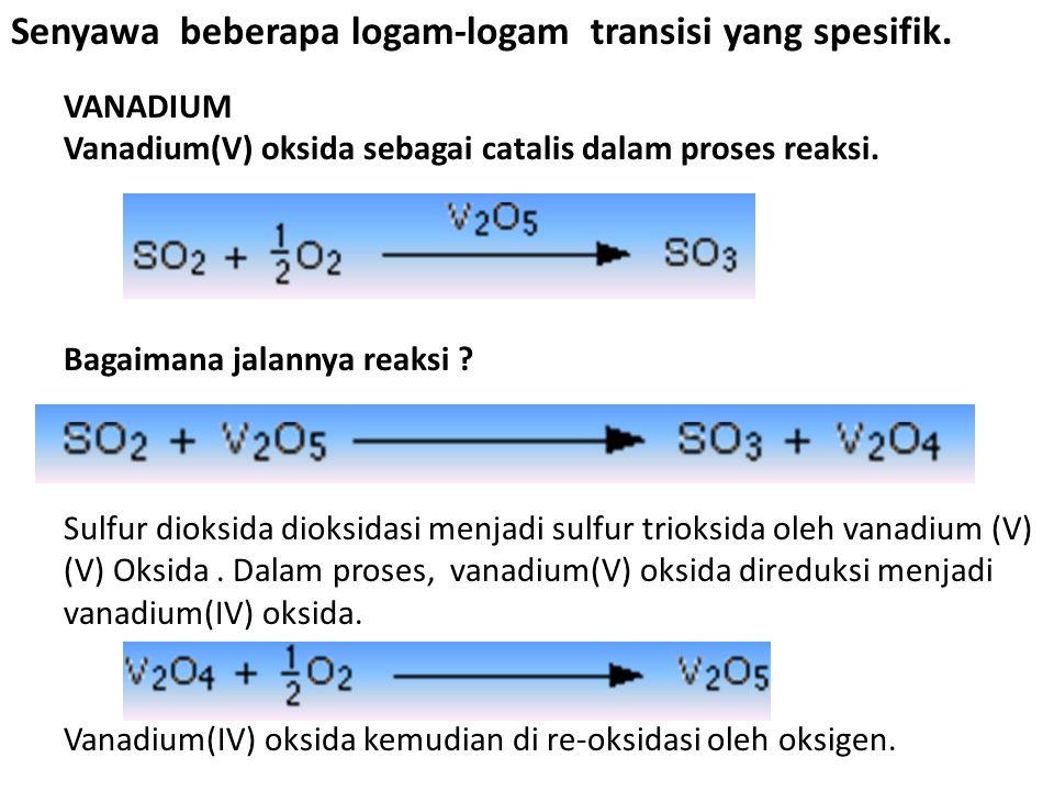 The chemistry of some specific transition metals Senyawa beberapa logam-logam transisi yang spesifik. VANADIUM Vanadium(V) oksida sebagai catalis dala
