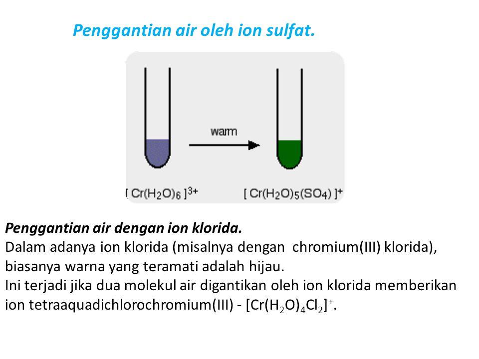 Penggantian air oleh ion sulfat. Penggantian air dengan ion klorida. Dalam adanya ion klorida (misalnya dengan chromium(III) klorida), biasanya warna