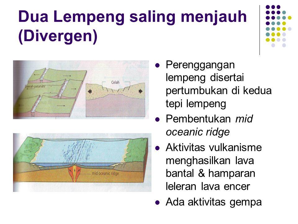 Dua Lempeng saling menjauh (Divergen) Perenggangan lempeng disertai pertumbukan di kedua tepi lempeng Pembentukan mid oceanic ridge Aktivitas vulkanisme menghasilkan lava bantal & hamparan leleran lava encer Ada aktivitas gempa