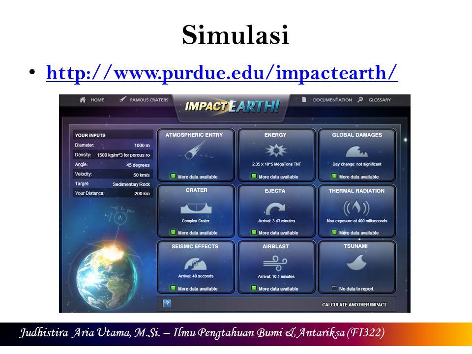 Simulasi http://www.purdue.edu/impactearth/ Judhistira Aria Utama, M.Si. – Ilmu Pengtahuan Bumi & Antariksa (FI322)