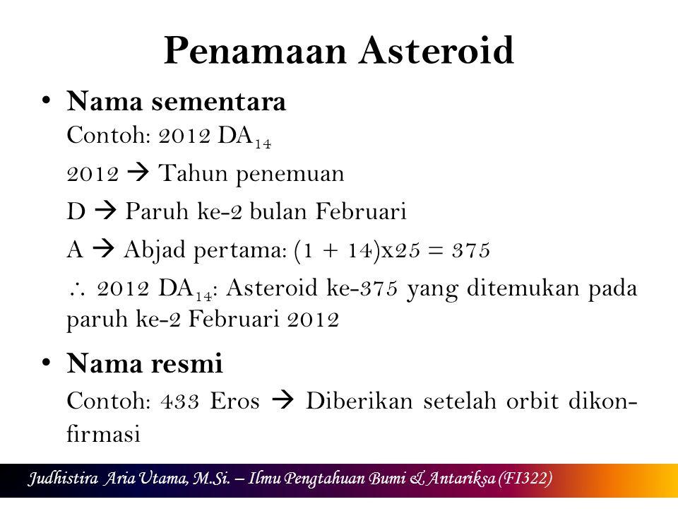 Penamaan Asteroid Nama sementara Contoh: 2012 DA 14 2012  Tahun penemuan D  Paruh ke-2 bulan Februari A  Abjad pertama: (1 + 14)x25 = 375  2012 DA 14 : Asteroid ke-375 yang ditemukan pada paruh ke-2 Februari 2012 Nama resmi Contoh: 433 Eros  Diberikan setelah orbit dikon- firmasi Judhistira Aria Utama, M.Si.