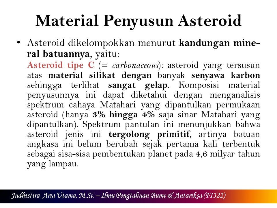 Material Penyusun Asteroid Asteroid dikelompokkan menurut kandungan mine- ral batuannya, yaitu: Asteroid tipe C (= carbonaceous ): asteroid yang tersusun atas material silikat dengan banyak senyawa karbon sehingga terlihat sangat gelap.