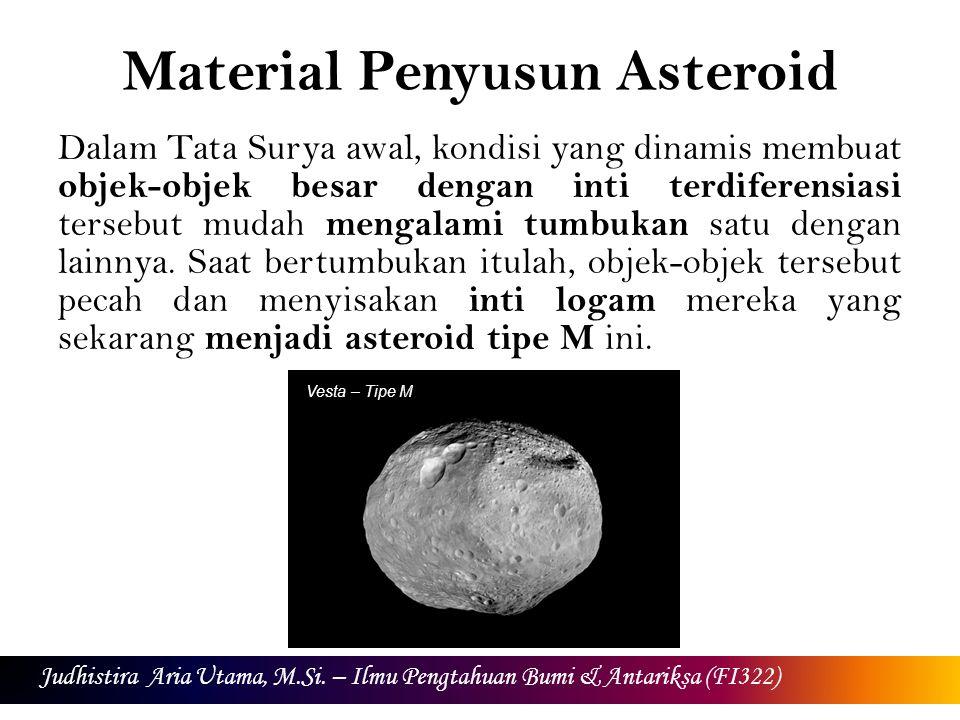 Material Penyusun Asteroid Dalam Tata Surya awal, kondisi yang dinamis membuat objek-objek besar dengan inti terdiferensiasi tersebut mudah mengalami tumbukan satu dengan lainnya.