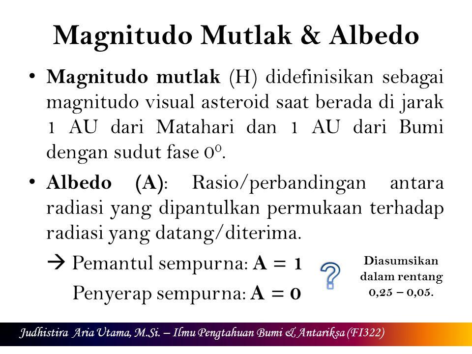Magnitudo Mutlak & Albedo Magnitudo mutlak (H) didefinisikan sebagai magnitudo visual asteroid saat berada di jarak 1 AU dari Matahari dan 1 AU dari Bumi dengan sudut fase 0 0.