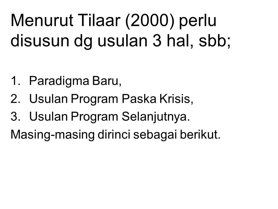Menurut Tilaar (2000) perlu disusun dg usulan 3 hal, sbb; 1.Paradigma Baru, 2.Usulan Program Paska Krisis, 3.Usulan Program Selanjutnya.