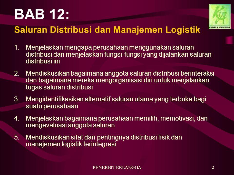 PENERBIT ERLANGGA2 BAB 12: Saluran Distribusi dan Manajemen Logistik 1.Menjelaskan mengapa perusahaan menggunakan saluran distribusi dan menjelaskan fungsi-fungsi yang dijalankan saluran distribusi ini 2.Mendiskusikan bagaimana anggota saluran distribusi berinteraksi dan bagaimana mereka mengorganisasi diri untuk menjalankan tugas saluran distribusi 3.Mengidentifikasikan alternatif saluran utama yang terbuka bagi suatu perusahaan 4.Menjelaskan bagaimana perusahaan memilih, memotivasi, dan mengevaluasi anggota saluran 5.Mendiskusikan sifat dan pentingnya distribusi fisik dan manajemen logistik terintegrasi
