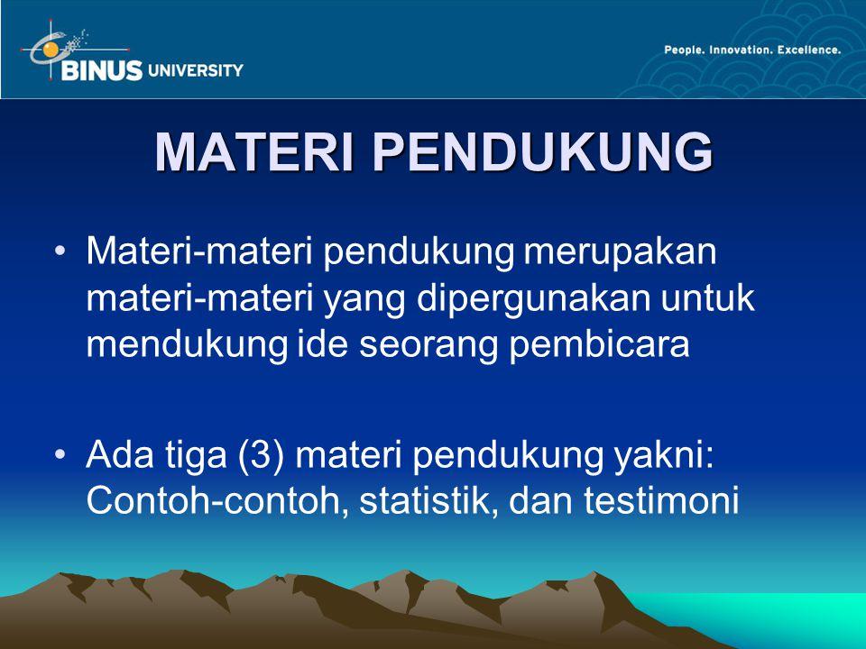 MATERI PENDUKUNG Materi-materi pendukung merupakan materi-materi yang dipergunakan untuk mendukung ide seorang pembicara Ada tiga (3) materi pendukung