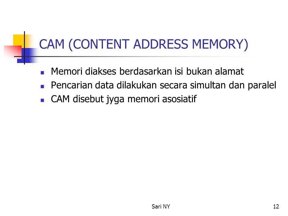 Sari NY12 CAM (CONTENT ADDRESS MEMORY) Memori diakses berdasarkan isi bukan alamat Pencarian data dilakukan secara simultan dan paralel CAM disebut jyga memori asosiatif