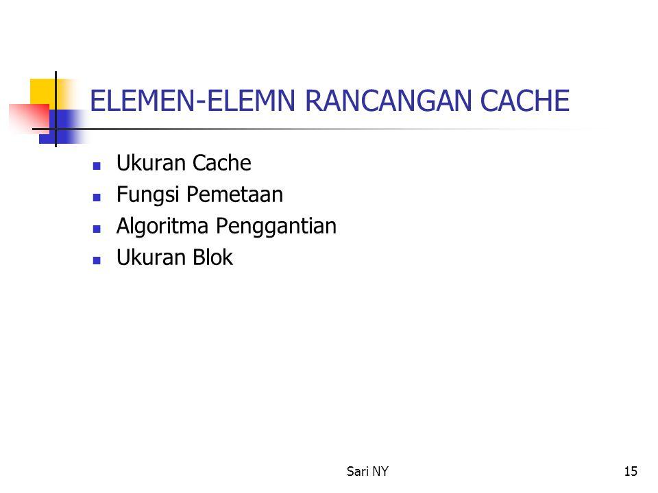 Sari NY15 ELEMEN-ELEMN RANCANGAN CACHE Ukuran Cache Fungsi Pemetaan Algoritma Penggantian Ukuran Blok