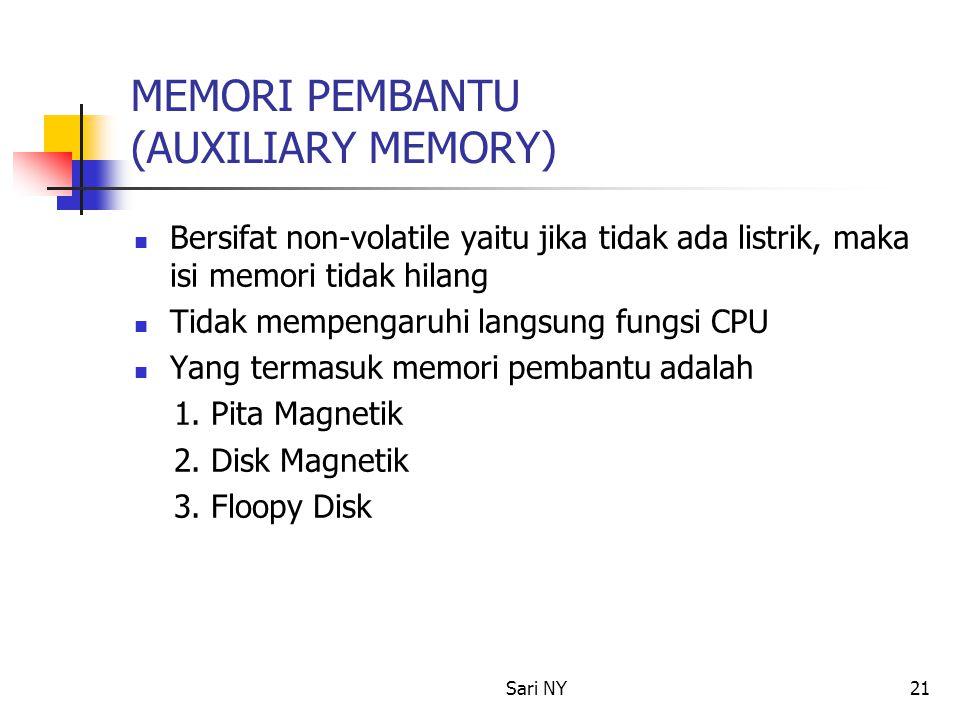 Sari NY21 MEMORI PEMBANTU (AUXILIARY MEMORY) Bersifat non-volatile yaitu jika tidak ada listrik, maka isi memori tidak hilang Tidak mempengaruhi langsung fungsi CPU Yang termasuk memori pembantu adalah 1.