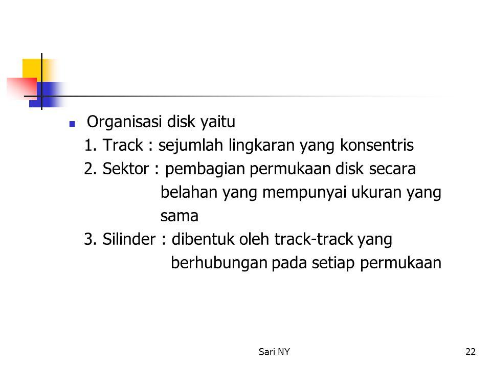 Sari NY22 Organisasi disk yaitu 1. Track : sejumlah lingkaran yang konsentris 2. Sektor : pembagian permukaan disk secara belahan yang mempunyai ukura