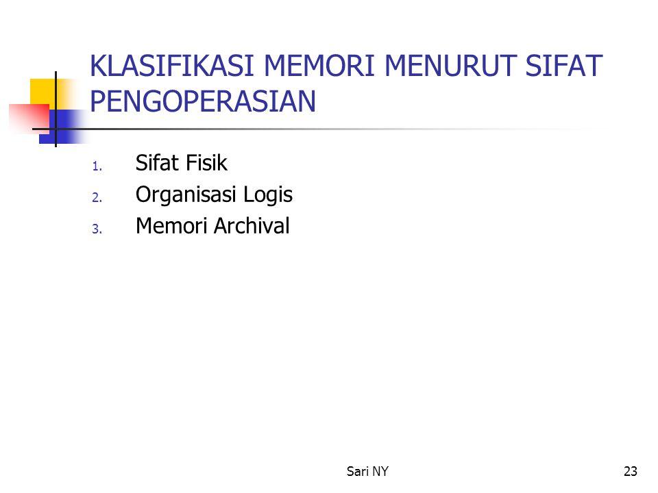 Sari NY23 KLASIFIKASI MEMORI MENURUT SIFAT PENGOPERASIAN 1. Sifat Fisik 2. Organisasi Logis 3. Memori Archival