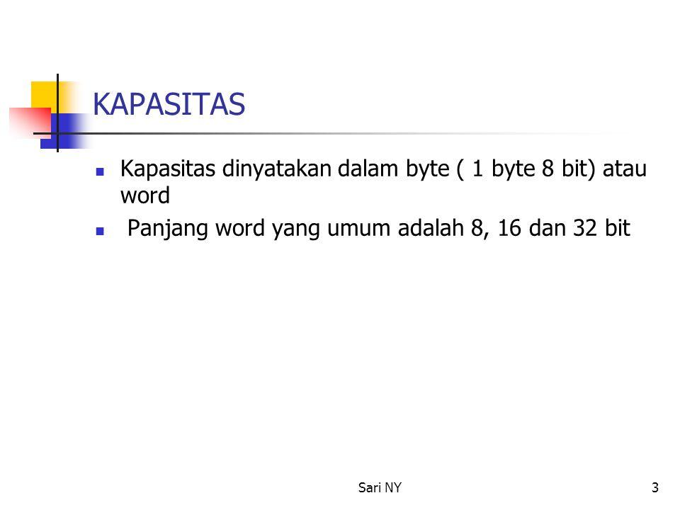 Sari NY3 KAPASITAS Kapasitas dinyatakan dalam byte ( 1 byte 8 bit) atau word Panjang word yang umum adalah 8, 16 dan 32 bit
