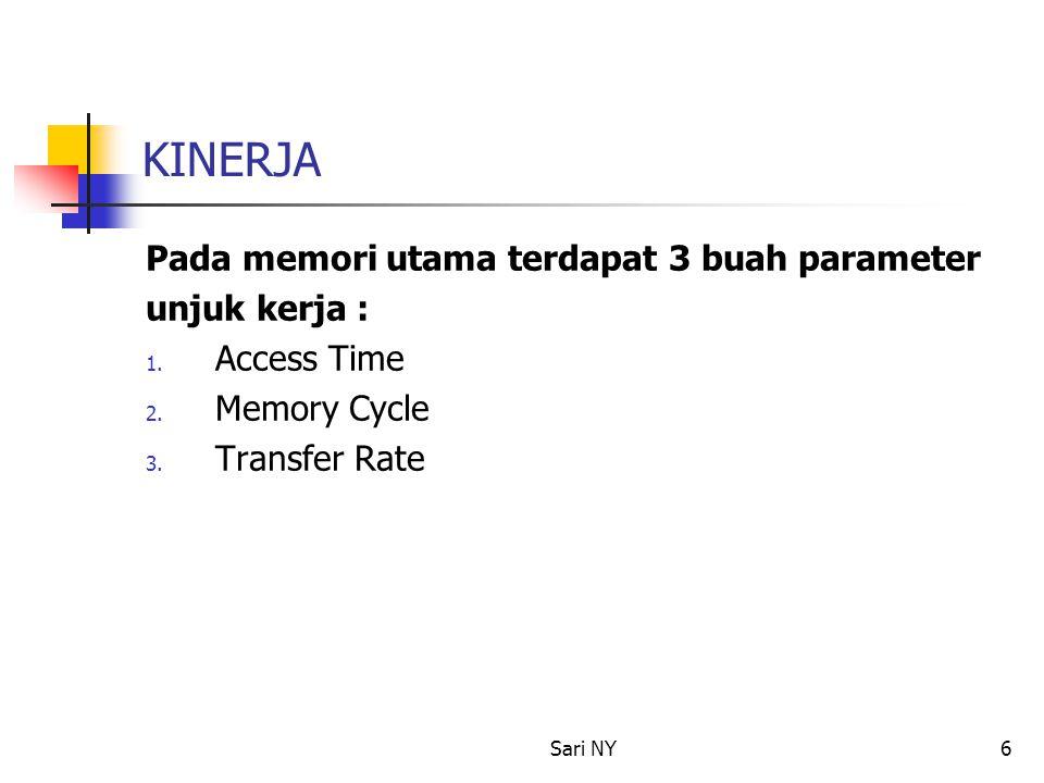 Sari NY6 KINERJA Pada memori utama terdapat 3 buah parameter unjuk kerja : 1. Access Time 2. Memory Cycle 3. Transfer Rate