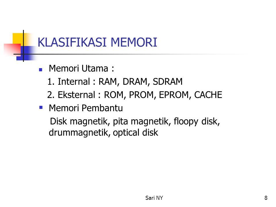 Sari NY8 KLASIFIKASI MEMORI Memori Utama : 1. Internal : RAM, DRAM, SDRAM 2. Eksternal : ROM, PROM, EPROM, CACHE  Memori Pembantu Disk magnetik, pita