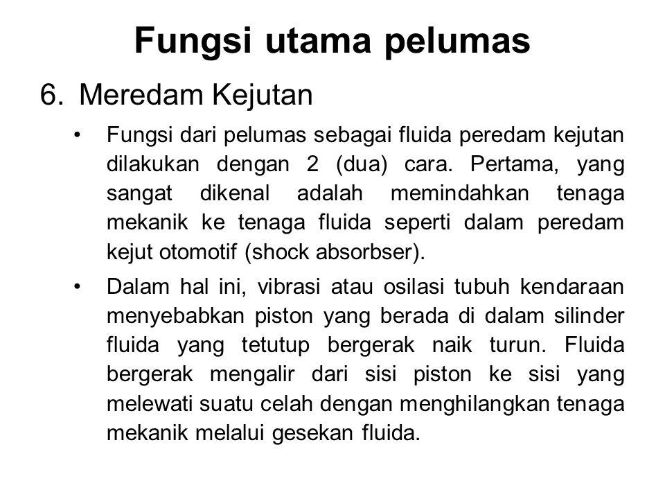 6.Meredam Kejutan Fungsi dari pelumas sebagai fluida peredam kejutan dilakukan dengan 2 (dua) cara. Pertama, yang sangat dikenal adalah memindahkan te
